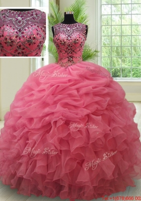 Best Selling See Through Bateau Watermelon Quinceanera Dress with Beading