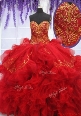 Fashionable Embroideried and Ruffled Red Quinceanera Dress with Brush Train