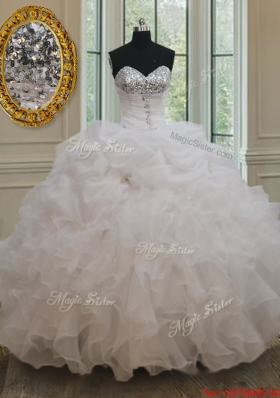 Gorgeous Sweetheart Bubble White Quinceanera Dress with Sequins and Ruffles