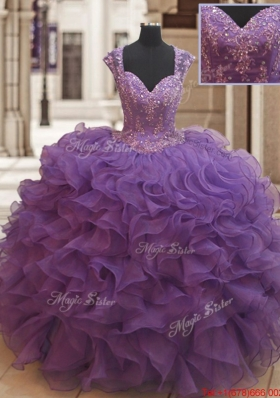 Latest See Through Back Beaded Ruffled Quinceanera Dress with Cap Sleeves