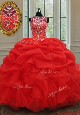 Luxurious See Through Bateau Bubble and Ruffled Red Quinceanera Dress in Organza