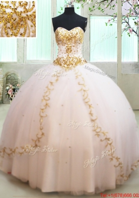 Luxurious Tulle White Quinceanera Dress with Gold Beading and Appliques