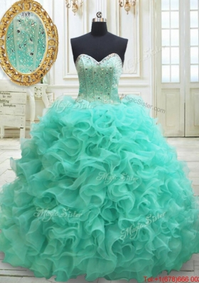 Most Popular Visible Boning Brush Train Quinceanera Dress in Apple Green