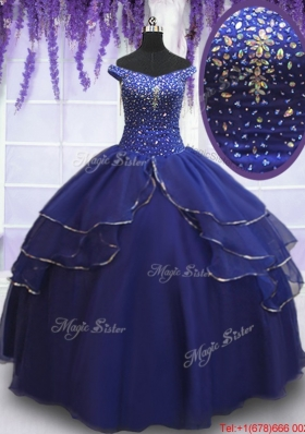 Royal Blue Off the Shoulder Ruffled Layers Quinceanera Dress with Beading and Sequins