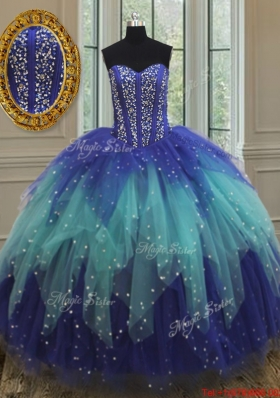 Unique Visible Boning Two Tone Quinceanera Dress with Beading and Ruffles