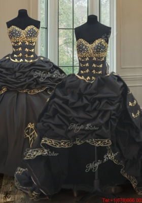 Wonderful Bubble Embroideried and Beaded Black Quinceanera Dress with Removable Skirt