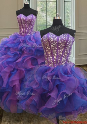 Exclusive Visible Boning Purple and Blue Detachable Quinceanera Dress in Organza