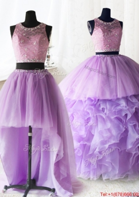 Latest Laced and Ruffled Lilac Quinceanera Dress with Removable Skirt