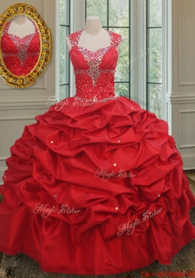 New Arrivals Puffy Skirt Taffeta Quinceanera Dress with Beading and Pick Ups