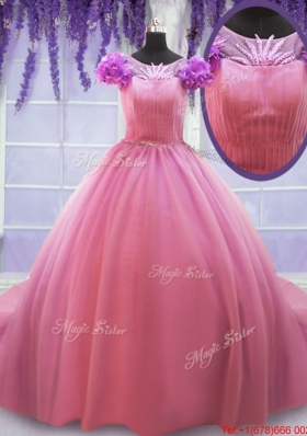 New Style Beaded Scoop Cap Sleeves Rose Pink Quinceanera Dress with Court Train