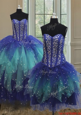 Simple Visible Boning Beaded Bodice Detachable Quinceanera Dress in Two Tone