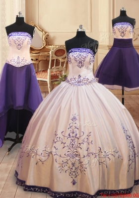Strapless Embroideried Satin Detachable Quinceanera Dress with Zipper Up