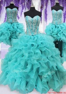 Three Piece Visible Boning Beaded and Ruffled Aquamarine Detachable Quinceanera Dress