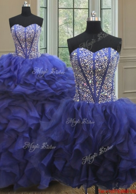 Visible Boning Royal Blue Detachable Quinceanera Gown with Beaded Bodice and Ruffles
