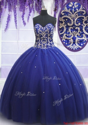 2017 Beautiful Beaded Bodice Royal Blue Sweet 15 Dress in Tulle