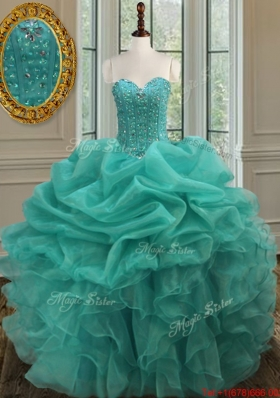 Exquisite Sweetheart Turquoise Quinceanera Dress with Bubbles and Beaded Bodice