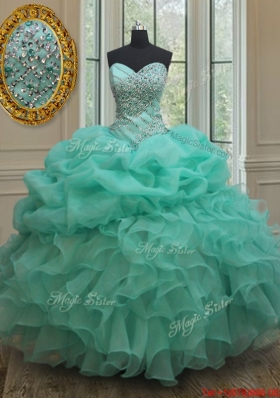 Lovely Big Puffy Beaded and Bubble Quinceanera Dress in Turquoise