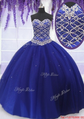 Romantic Beaded Bodice Royal Blue Quinceanera Dress in Tulle