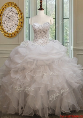 Cheap Beaded Ruffled and Bubble White Quinceanera Dress in Organza