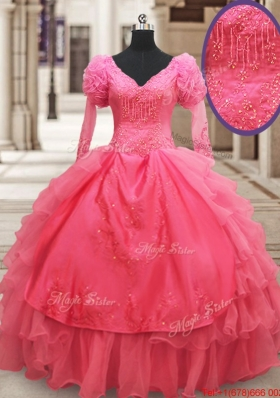 Classical Half Sleeves Watermelon Red Quinceanera Dress with Ruffled Layers and Embroider
