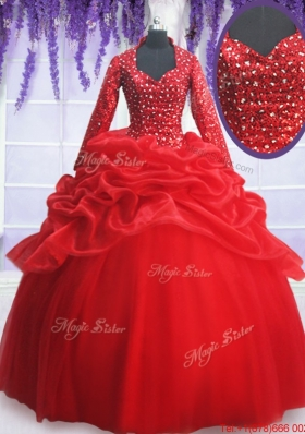Elegant Beaded and Sequined Zipper Up Quinceanera Dress with Long Sleeves