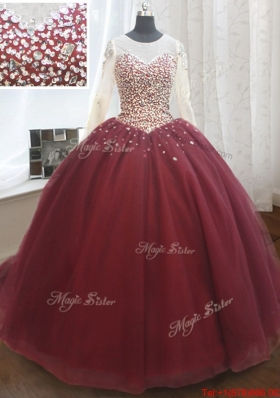 Elegant See Through Scoop Brush Train Quinceanera Dress with Long Sleeves