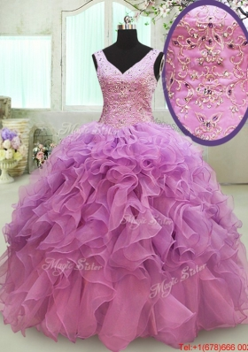 Gorgeous Big Puffy V Neck Beaded and Ruffled Quinceanera Dress in Organza