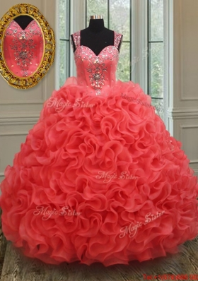 Hot Sale See Through Back Coral Red Sweet 15 Dress in Rolling Flowers