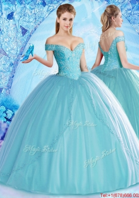 Lovely Off the Shoulder Aqua Blue Quinceanera Dress with Beading