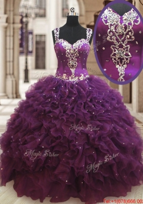 Lovely See Through Back Straps Zipper Up Dark Purple Quinceanera Dress