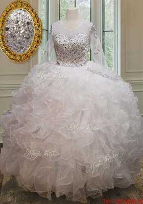 Pretty See Through Scoop Long Sleeves Quinceanera Dress with Brush Train