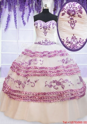 Simple Applique and Embroideried White Quinceanera Dress with Ruffled Layers