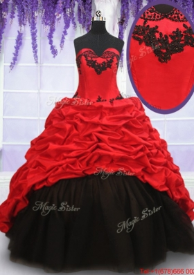 Top Seller Brush Train Red and Black Quinceanera Dress in Organza and Taffeta