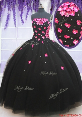 Wonderful Applique Decorated Bodice and Beaded Quinceanera Dress in Black