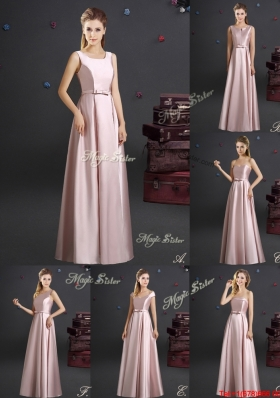 New Arrivals Elastic Woven Satin Empire Long Dama Dress with Bowknot