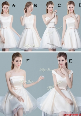 Popular 2017 Bowknot Off White Short Dama Dress in Tulle