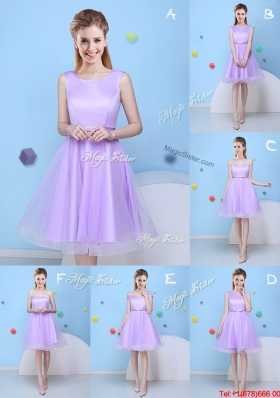 Spring Beautiful Bowknot Tulle Short Dama Dress in Lavender