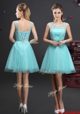 2017 Beautiful Applique Decorated Scoop and Beaded Bridesmaid Dress