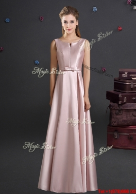 Affordable 2017 Bowknot Pink Bridesmaid Dress with Straps