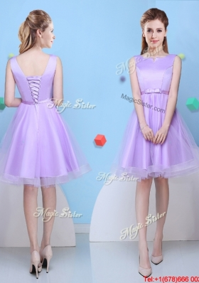Affordable Bowknot Scoop Short Bridesmaid Dress in Lavender