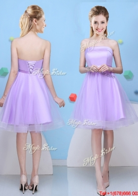 Classical Lace Up Bowknot Lavender Bridesmaid Dress with Strapless