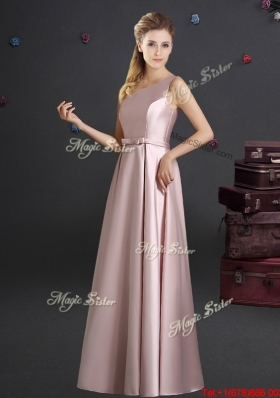 Classical One Shoulder Empire Bowknot Bridesmaid Dress in Pink
