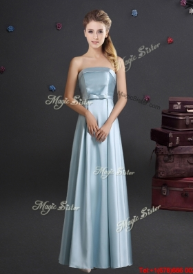 Comfortable Light Blue Strapless Long Bridesmaid Dress with Bowknot