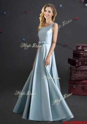 Discount Light Blue Square Long Bridesmaid Dress with Bowknot