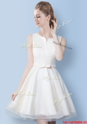 Discount Mini Length A Line Bowknot Bridesmaid Dress in Off White
