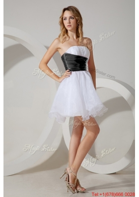Discount Organza Beaded Short Bridesmaid Dress in White and Black