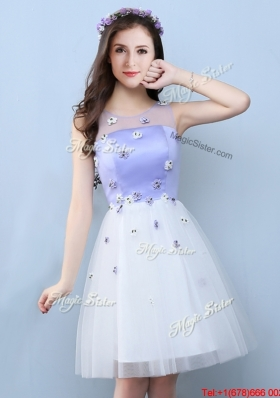 Exclusive See Through Applique Short Bridesmaid Dress with Scoop