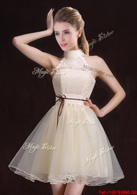 Exclusive See Through Belted Organza Short Bridesmaid Dress with Halter Top