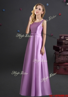 Fashionable Square Elastic Woven Satin Lilac Bridesmaid Dress for Spring