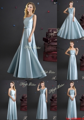 Hot Sale Light Blue Long Bridesmaid Dress in Elastic Woven Satin